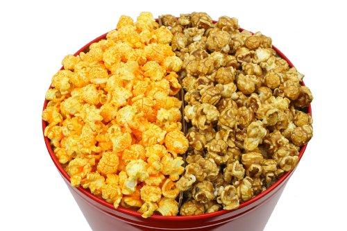 Signature Popcorn - 2-Gallon Solid Red Holiday Reusable Metal Tin - Caramel & Cheddar Cheese