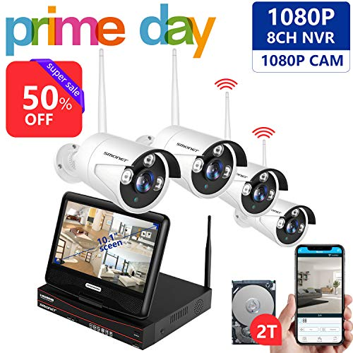 [All-in-One&Expandable System&Full HD] Wireless Security Camera System,SMONET 8CH 1080P Video Security System with 2TB HDD,4pcs 1080P Wireless IP Cameras,with 10.1inches Monitor,P2P,Easy Remote View