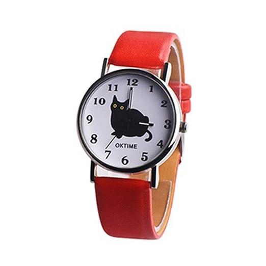 Mujeres Kawaii Cute Cat Banda de Cuero de Moda Relojes de Pulsera Dial Redondo Cuarzo Reloj