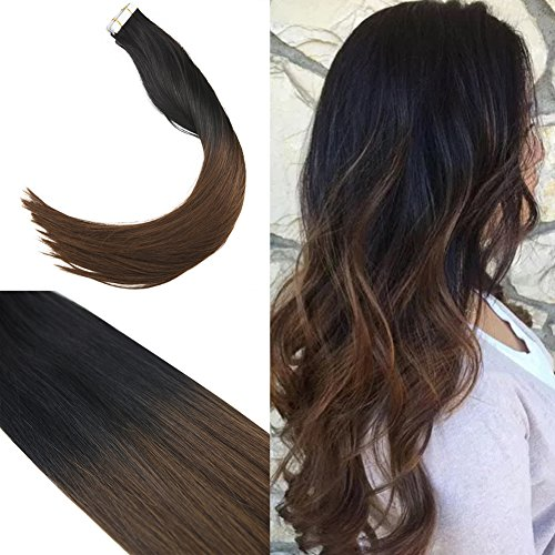 Youngsee 22inch Ombre Tape in Hair Extensions Natural Black to Dark Brown 20pcs Remy Two Tone Tape in Hair Extensions Human Hair (Two Tone Tape)