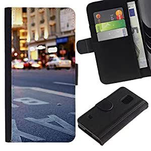 YiPhone /// Tirón de la caja Cartera de cuero con ranuras para tarjetas - Ciudad de Nueva York Nueva York - Samsung Galaxy S5 V SM-G900