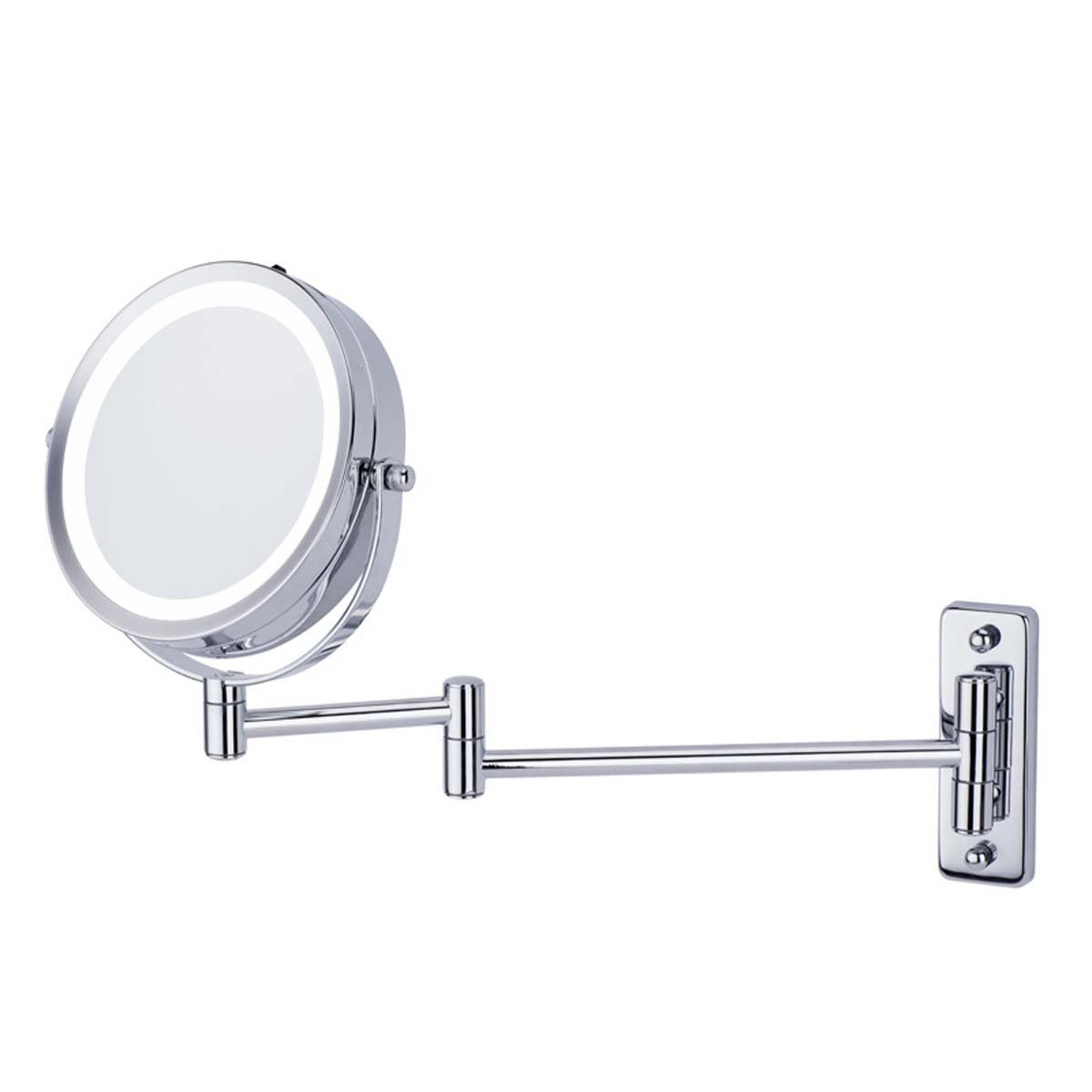 J&A Double Sided LED Wall Mount Folding Mirror, Wall Mirror, 6in Bathroom Shaving, Makeup Mirror, 1x & 5x Zoom Collapsible Makeup Mirror, Metal Bracket, Rustproof Base