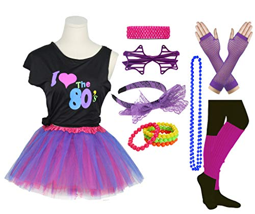 Girls I Love The 80's Disco T-Shirt for 1980s Theme Party Outfit (Purple2, 7-8 Years) ()