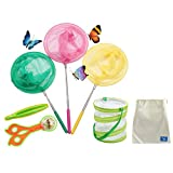 COOLIZ Telescopic Butterfly Net Kit for Kids (6 Pack Bug Insect Catching Nets Extendable 34'' Inch-Pop Up Butterfly Mesh Cage Included - Perfect for Patio, Outdoor, Travel Activities