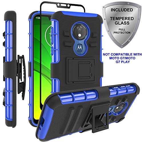 Moto G7 Power Case,Moto G7 Supra Case, ChangeJ Military Grade Protection with Tempered Glass Screen Protector Holster Belt Clip Amor Case for Motorola Moto G7 Power/Supra - Blue