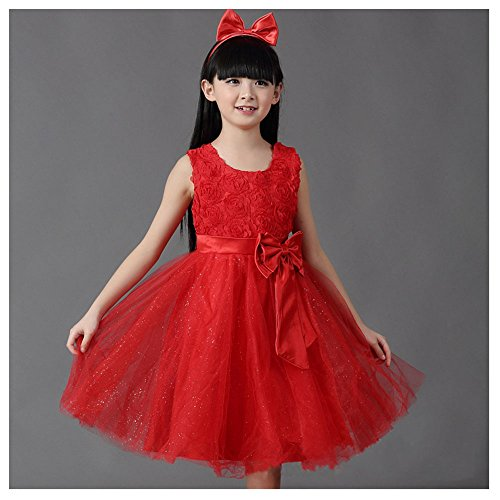 Price comparison product image KAKA(TM) Lovely Girls One Piece Dress Flower Girl Dresses Red Dress skirt Princess Skirt Tutu Skirt Party Costume Dress With Bowknot
