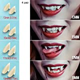 UVEEFUN Vampire Teeth Fangs Dentures - 4 Pair - Cosplay Props Halloween Costume Props Party Favors (13mm 15mm 17mm 19mm)