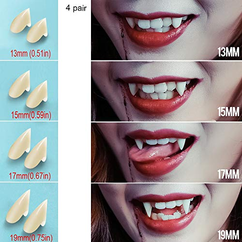 UVEEFUN Vampire Teeth Fangs Dentures - 4 Pair - Cosplay Props Halloween Costume Props Party Favors (13mm 15mm 17mm 19mm)]()
