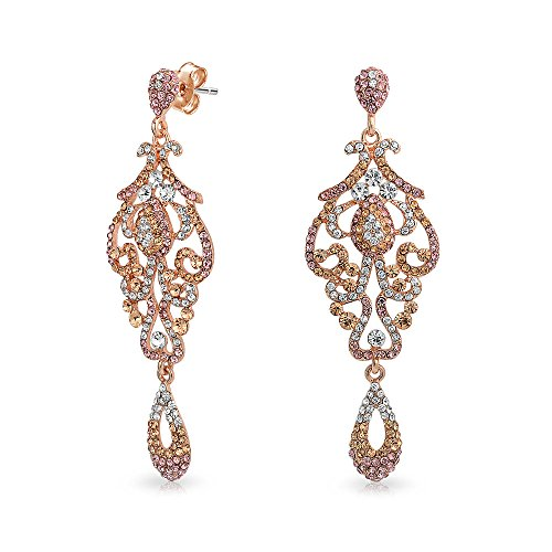 Vintage Style Pink Crystal Lace Chandelier Statement Prom Pageant Dangle Earrings For Women Rose Gold Plated Alloy