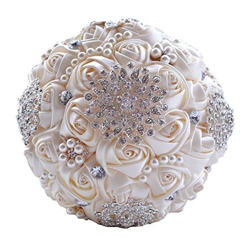 Bouquet Bridal - Wedding Flowers Bridal Bouquets Elegant Pearl Bride Bridesmaid Wedding Bouquet Crystal Sparkle (beige)