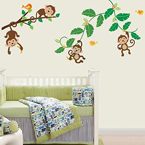 Amazon.com: Monkeys Swinging On Vines Giant Peel U0026 Stick Wall Art Sticker  Decals: Baby