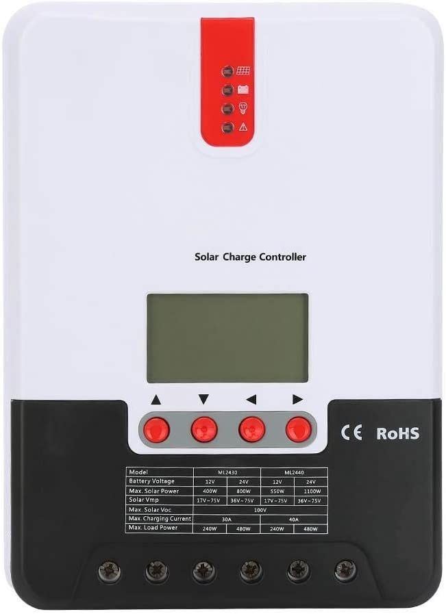 30A ML2430 Solar Charge Controller with LCD Display 12V 24V MPPT Charge Regulator for Solar Panels