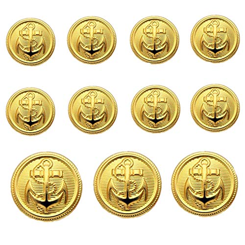 YCEE 11 Pieces Gold Metal Blazer Button Set - Naval Anchor Crest - for Blazer, Suits, Sport Coat, Uniform, Jacket