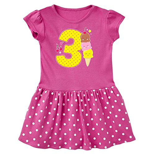 (inktastic - Ice Cream Third Toddler Dress 3T Raspberry with Polka Dots 2f6f2)
