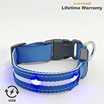 LED Light Up Reflective Dog Collar for Small Medium Large Dogs, Improved Safety, USB Rechargeable, Matching Leash AvailableSeparately
