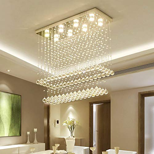 Twelve Light Crystal Pendant - Moooni Modern Rectangular Raindrop Crystal Chandelier Ceiling Lighting Fixture Rectangle Pendant Flush Mount LED Light for Dining Room L 40