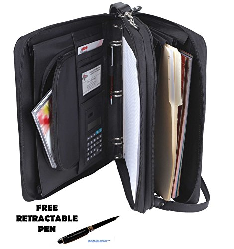 Portfolio Briefcase - Padfolio 3-Ring Binders, Folder File Divider Organizer Planner w/Smart Handle, Briefcase Luggage Portfolio