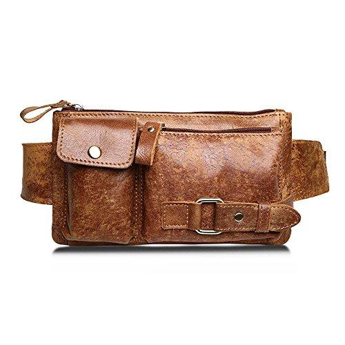 06738f180c BISON DENIM Leather Waist Pack Fanny Pack Men's Hip Purse Travel Hiking Bum  Bag Belt Bag