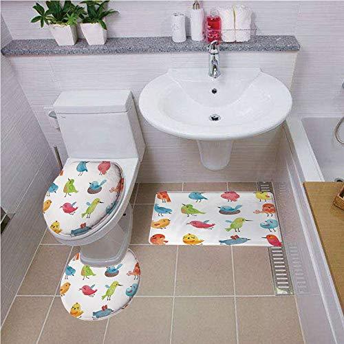 Bath mat set Round-Shaped Toilet Mat Area Rug Toilet Lid Covers 3PCS,Animal,Colorful Cute Birds Watercolor Effect Humor Funny Mascots Paint Brush Art Kids Design,Multi ,Bath mat set Round-Shaped Toile