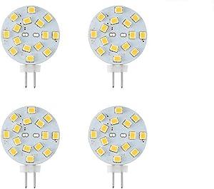 Makergroup 12V G4 LED Bulb 3W Bi-Pin LED Round Wafer Disc Light Bulb 20-30 Watt Equivalent Daylight White 6000K for Puck Lights in RV Trailers Campers Automotive Marine Landscape Lighting 4-Pack