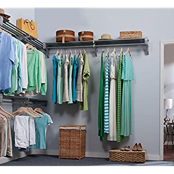 Bon EZ Shelf   18 Ft. Closet Organizer Kit. Up To 18.4 Ft. Hanging U0026 Shelf  Space   Silver