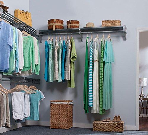 EZ Shelf - DIY Closet Organizer Kit - Expandable to 18.4 ft Hanging & Shelf Space - Silver