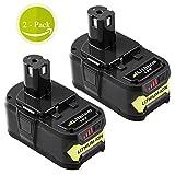 P108 5.0Ah for Ryobi 18V Lithium Battery replacement Ryobi 18-Volt ONE+ P104 P105 P102 P103 P107 Tool 2-Pack