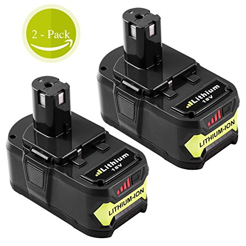P108 5.0Ah for Ryobi 18V Lithium Battery replacement Ryobi 18-Volt ONE+ P104 P105 P102 P103 P107 Tool 2-Pack by GERIT BATT