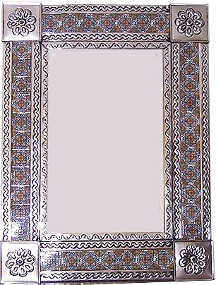 Fine Crafts Imports Medium Silver Gerona Tile Talavera Tin Mirror