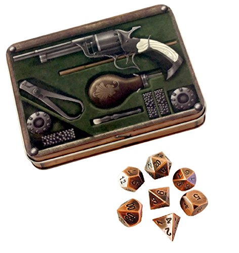Skull Splitter Dice - Gunslinger's Kit with Antique Brass Color with Black Numbers Metal Dice - Solid Metal Polyhedral Role Playing Game (RPG) Dice Set (7 Die in Pack) with Dice Case (Metallic Dice)