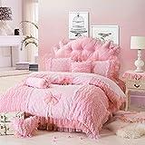 FADFAY Home Textile,Romantic Pink Rose Girls Princess Bedding,Elegant Korean Ruffle And Lace Bedding,Luxury Wedding Bedding