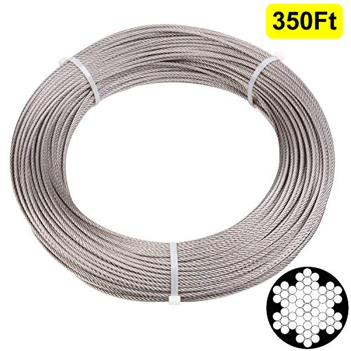 Blika 1/8 inch Stainless Aircraft Steel Wire Rope Cable for Railing (350ft T316 Stainless Steel Cable (1/8