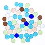 frosted glass gems - HansGo 100 PCS Premium Flat Clear Marbles Pebbles Frosted Flat Bottom Round Top Glass Rocks Bowl Filler Gems