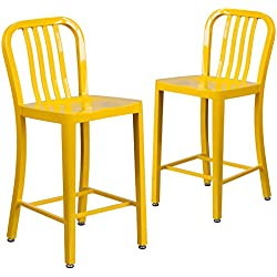 Flash Furniture 2 Pk. 24'' High Yellow Metal Indoor-Outdoor Counter Height Stool with Vertical Slat Back