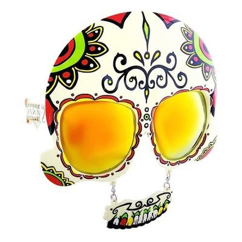 Sunstaches Day of the Dead Sugar Skull, Instant Costume, Party Favors, UV400