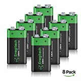 Enegitech 9V Lithium Battery 600mAh Non-Rechargeable Li-ion Battery for Smoke Detector Gas Meter Lighting Fixture, 8-Pack