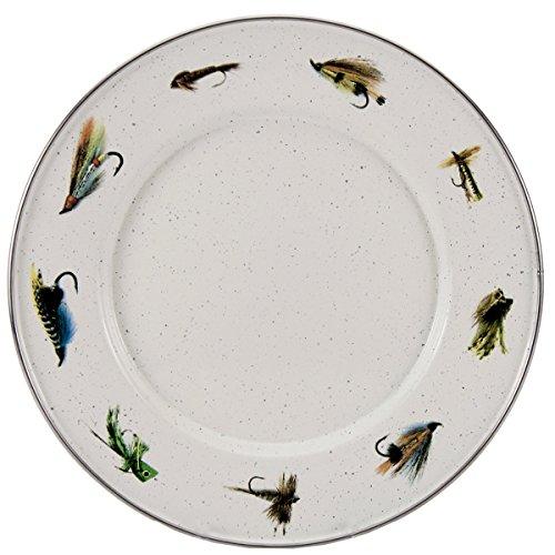 Enamelware - Fly Fishing Pattern - 8.5 Inch Sandwich Plate