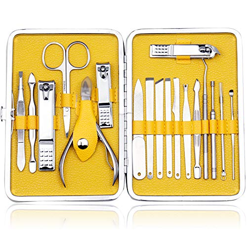 ZIZZON Stainless Steel Manicure Set 18 in 1with Travel Case (Yellow)