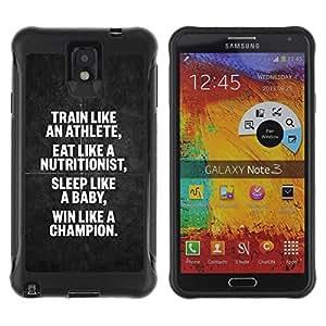 Suave TPU Caso Carcasa de Caucho Funda para Samsung Note 3 / athlete nutritionist champion poster / STRONG