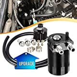 """Vincos Universal 3/8""""&9/16"""" 400ml Aluminum Oil Catch Can Dual Cylinder Polish Baffled Engine Air Oil Separator Tank Reservoir Kit with Breather Black Small Drain"""