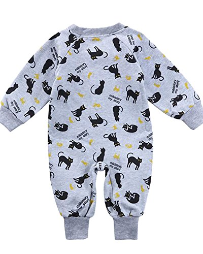 Kidsform Infant Baby Cotton Long Sleeves Romper Bodysuit Playsuits Overall Outfits Grey 6-12M