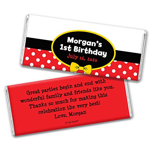 Personalized Mickey Mouse Themed Kids Birthday Party Favors Chocolate Bar Wrappers (25 -