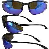 Global Vision Hollywood Safety Sunglasses Matte Black Frames G-Tech Blue Mirror Lenses ANSI Z87.1+