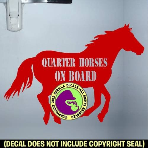 QUARTER HORSES ON BOARD Trailer Vinyl Decal Sticker D