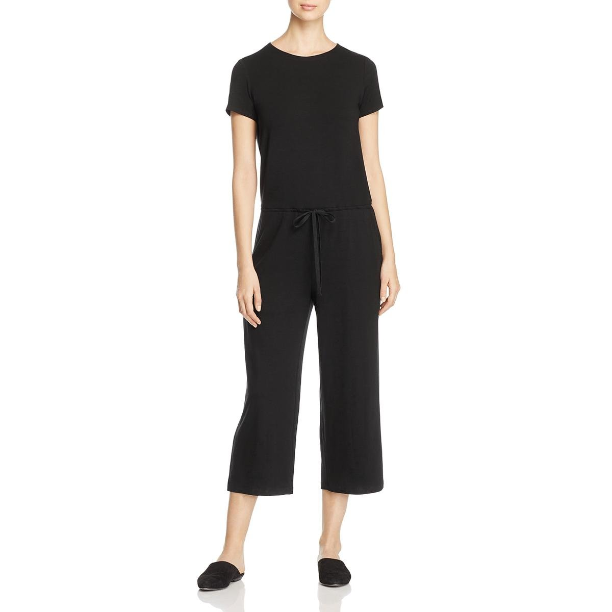 Eileen Fisher Womens Petites Xclusive Cropped Wide Leg Jumpsuit Black PM
