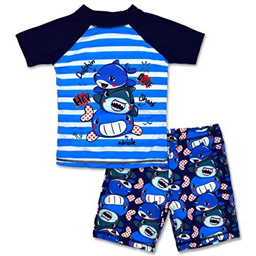 Boys Two Piece Set - Boys Two Piece Rash Guard Swimsuits Kids Short Sleeve Sunsuit Swimwear Sets 7T