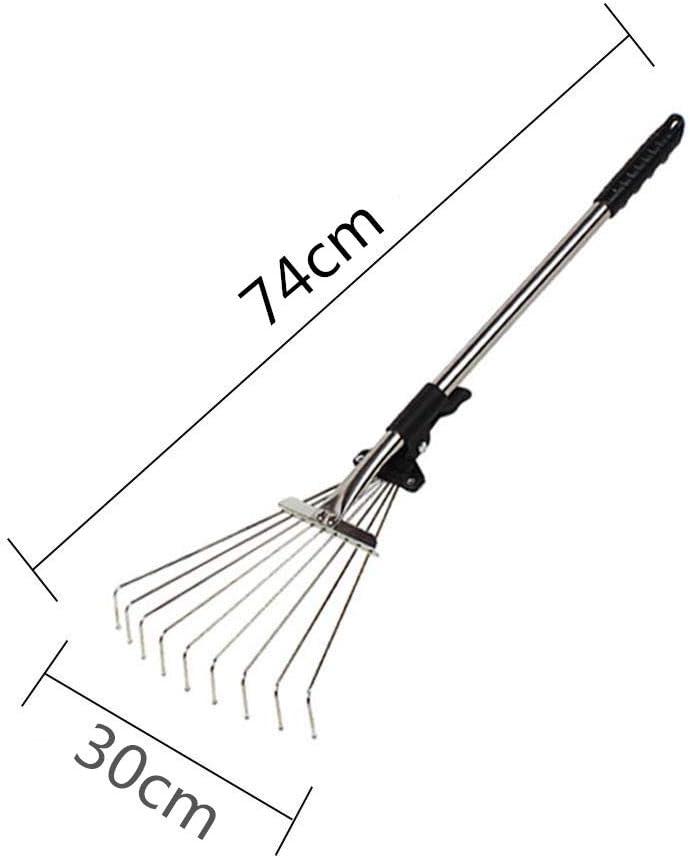 JHKJ 159 cm Langer Teleskoprechen aus rostfreiem Stahl mit verstellbaren Klappbl/ättern zur schnellen Reinigung von Rasen und Hof