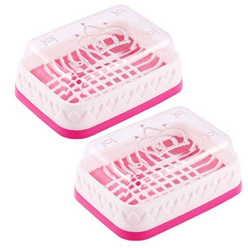 eDealMax Mano di lavaggio in plastica del sapone Della scatola di caso 2pcs supporto del Piatto Fucsia Bianchi