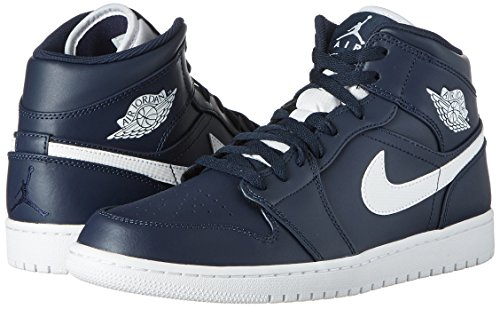Nike Heren Air Jordan 1 Mid Basketbalschoen Obsidian / Wit