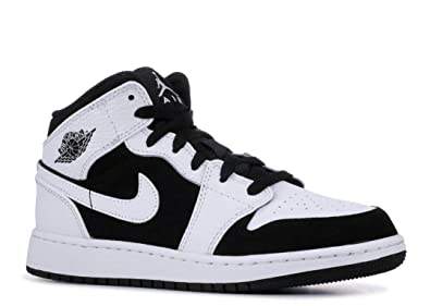 6c90b0bdb4e52 Image Unavailable. Image not available for. Color  AIR Jordan 1 MID (GS)   Tuxedo  - 554725-113
